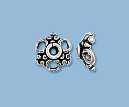 (6) NEW STERLING SILVER BALI BEAD CAPS  - $9.29