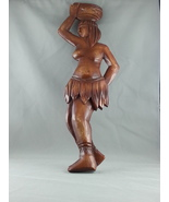 Vintage Wood Carved Figures - Working Tribal Woman - Made in Brazil  - U... - $37.00