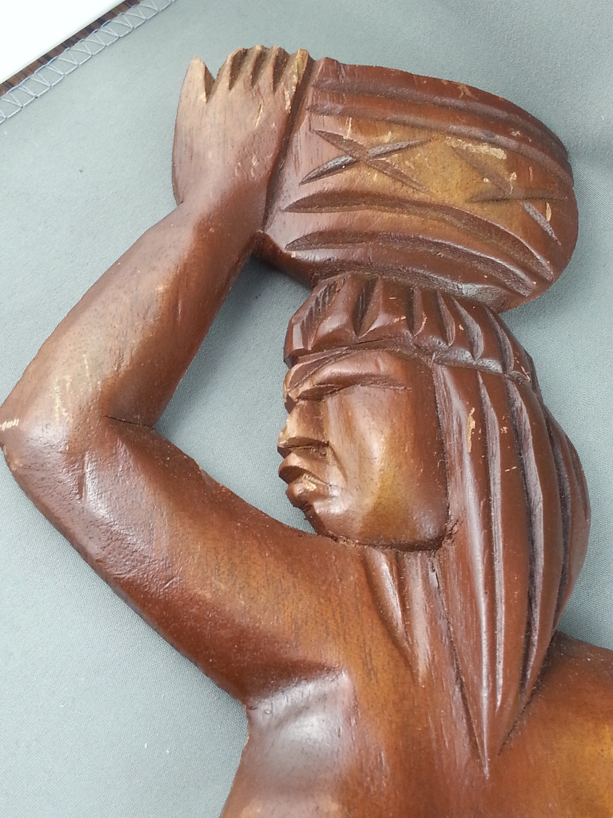 Vintage Wood Carved Figures - Working Tribal Woman - Made in Brazil  - Unique