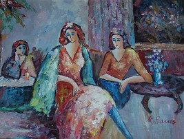 "Signed K. Barnes ""Untitled"" Three Women at Leisure Original Oil Painting... - $440.00"