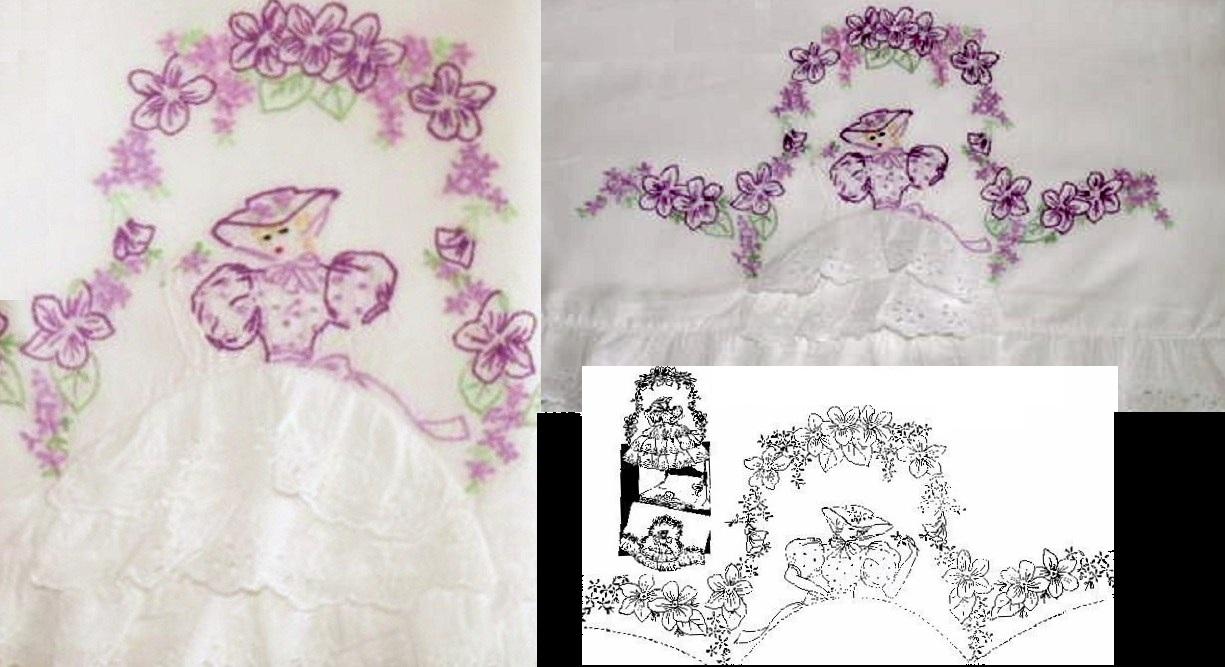 Southern belle crinoline lady pillowcase eyelet