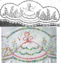 Southern Belle - Crinoline Lady pillowcase crochet & embroidery pattern LW220   - $5.00