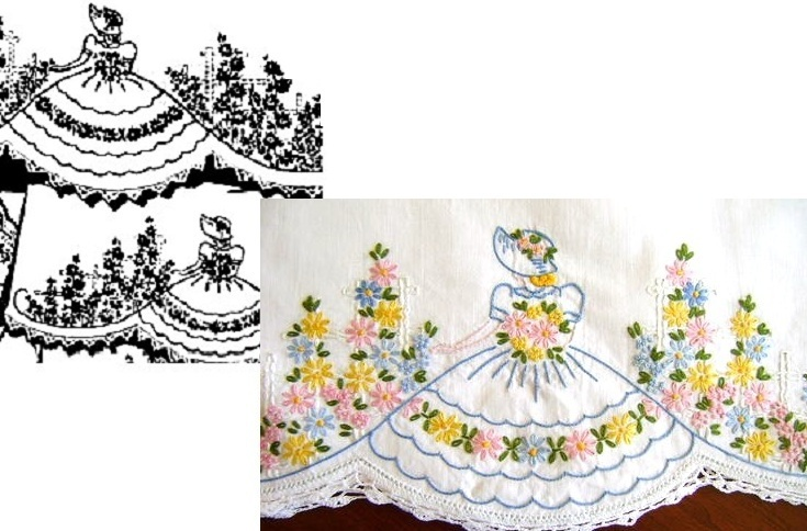 Primary image for Southern Belle - Crinoline Lady pillowcase crochet & embroidery pattern AB7102