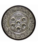 Wood and Silver Plated Seder Plate on 3 Legs - $35.63