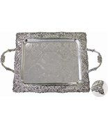 Silver Plated Shabbat Candlestick Tray on Legs with Handles [Kitchen] - $45.53