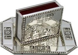 Judaica Shabbat Holiday Match Box Holder And Tray Nickel Plate Jerusalem View