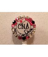 Cna Nurse Badge Reel Id Holder Swarovski Crystals Alligator clip New Han... - $10.99