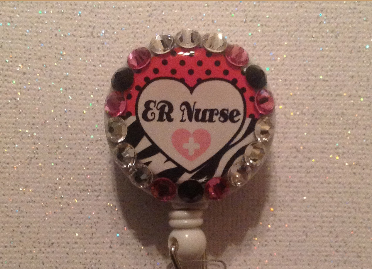 Er Nurse Badge Reel Id Holder Swarovski Crystals Alligator Clip Handmade Pink