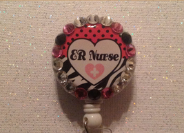 Er Nurse Badge Reel Id Holder Swarovski Crystals Alligator Clip Handmade... - $10.99