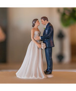 Contemporary Vintage Romantic Couple Wedding Cake Topper Custom Hair Mod... - $23.74+
