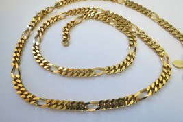 "Vintage Monet Gold Plated Necklace 24"" Flat Figaro Curb Chain Lobster Ca... - $22.76"