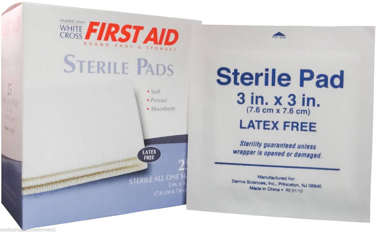 STERILE GAUZE PAD SPONGES LATEX FREE 3x3 BOX OF 25 PADS (6 ...  STERILE GAUZE P...
