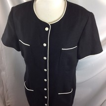 Donna Ricco Black White Piping Dress Button Front Tailored Lined Pockets... - $29.21