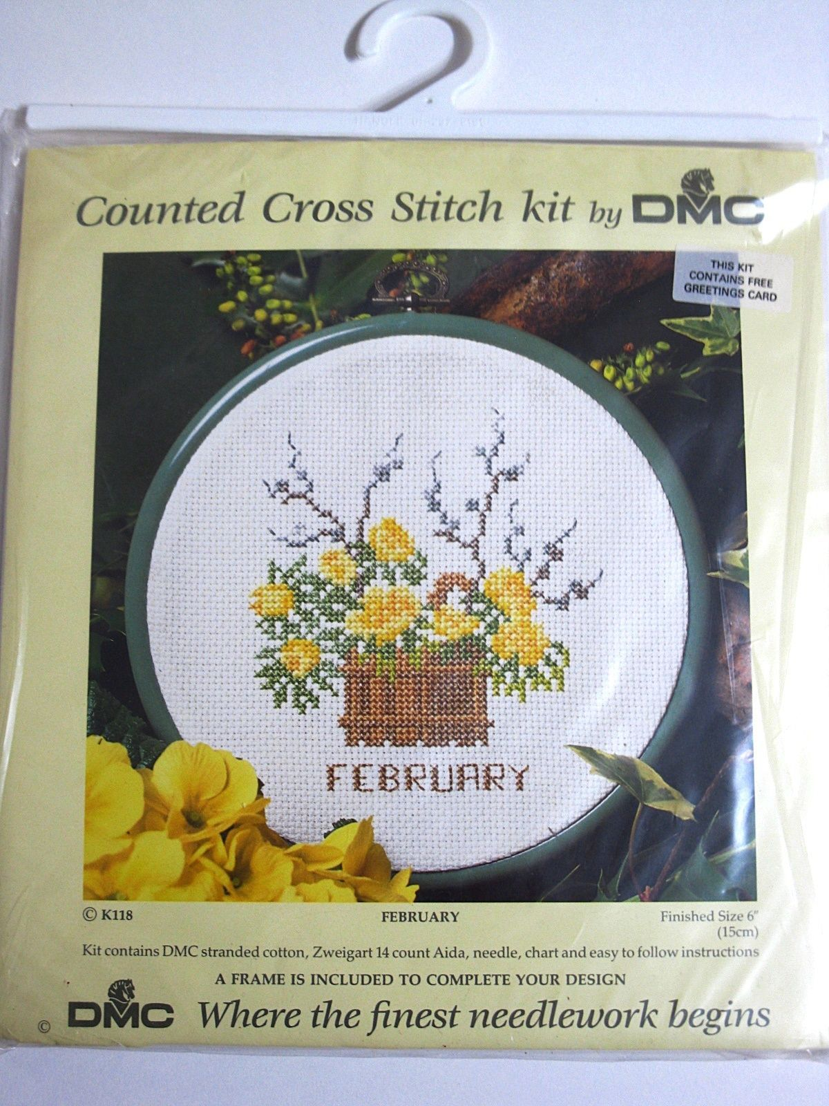 Primary image for DMC  Counted Cross Stitch Kit February Frame Gift Card New FREE Shipping