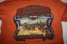 Harley Davidson Mens T-Shirt Orange Battlefield Harley Gettysburgh PA Size Small image 3