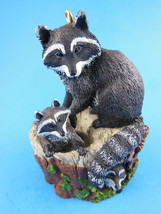 "Raccoons Hallmark Figurine ORNAMENT Mother with 2 Baby  3.25"" 1999 Mark Newman - $6.92"