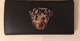 Rottweiler Dog Breed Black Leather Checkbook Cover Rottie - $20.00