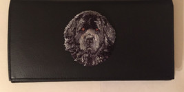 Newfoundland Dog Breed Black Leather Checkbook Cover Newfie - $23.00