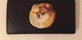 Pomeranian Dog Breed Black Leather Checkbook Cover Pom - $23.00