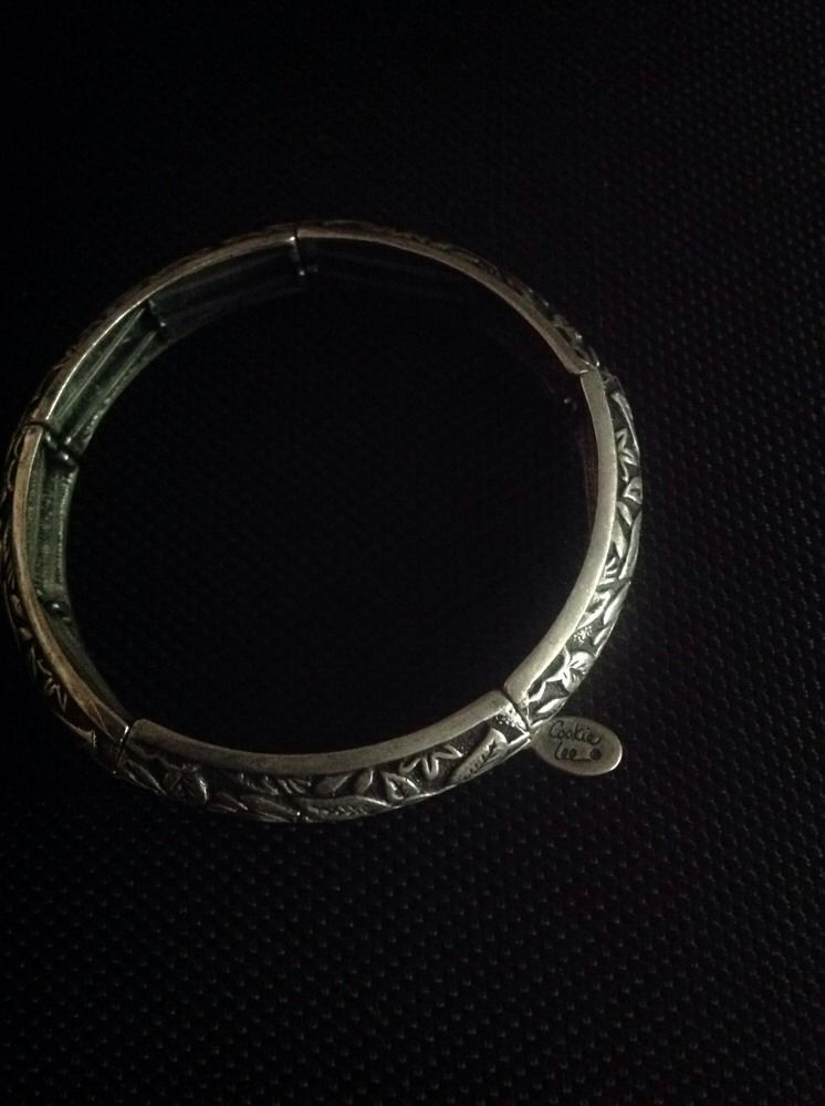 Antique Looking Silver Leaf Stretchy Bracelet With Charm By Cookie Lee