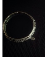 Antique Looking Silver Leaf Stretchy Bracelet With Charm By Cookie Lee - $24.75
