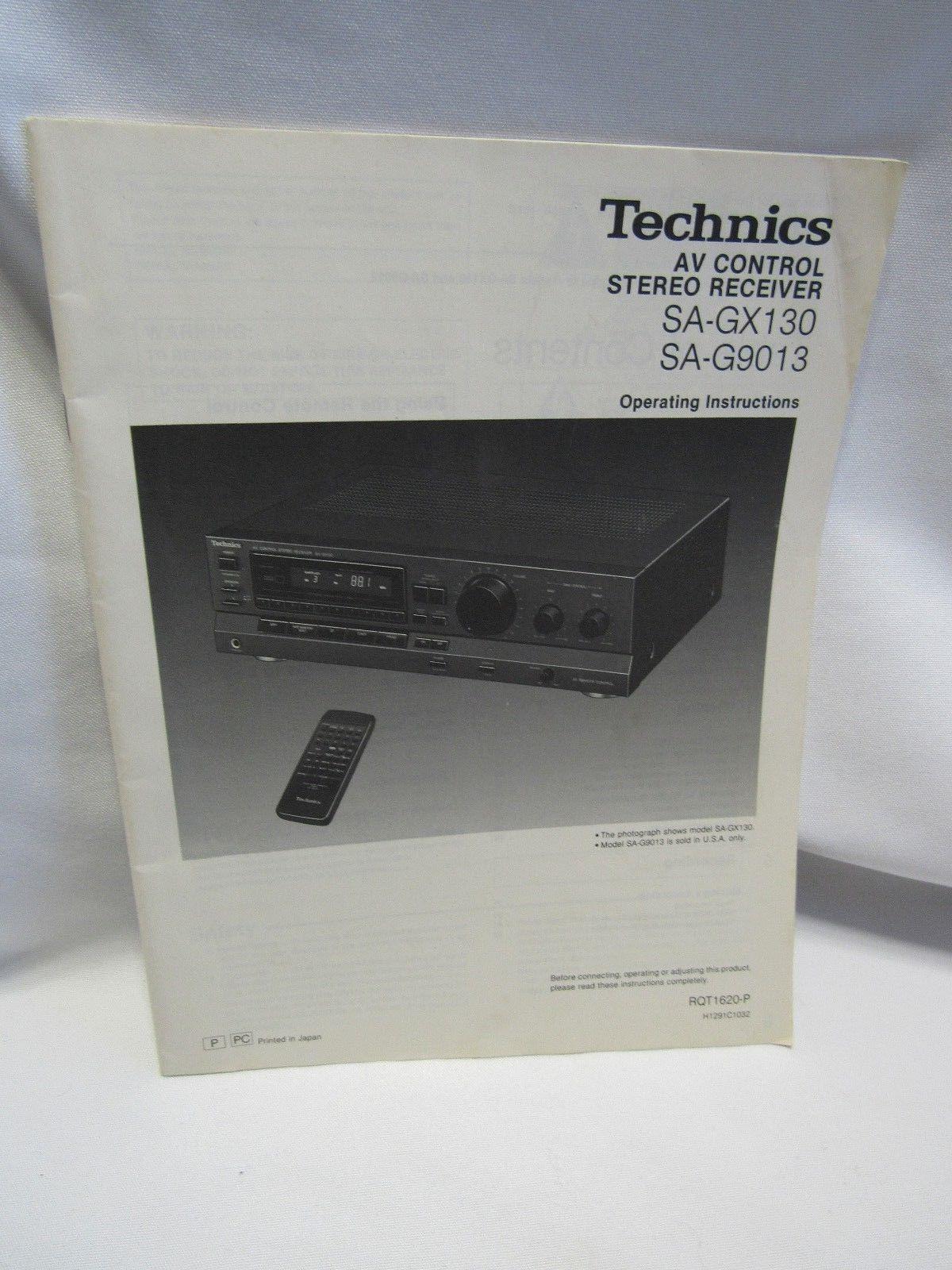 Technics SA-GX130 SA-G9013 AV Control Receiver Operating Instruction Manual