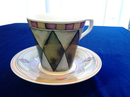 Sasaki Palazzo, Flat Cup & Saucer Set Geometric abstraction Art, Porcela... - $14.99