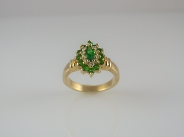 Emerald cz cluster gold ladies ring  2  thumb200