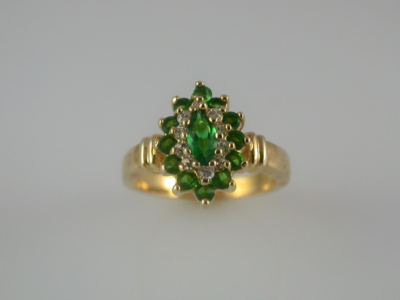 Emerald Cluster Cubic Zirconia Ladies Ring Size 6