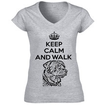 Rottweiler Keep Calm And Walk   New Graphic Grey T Shirt   S M L Xl Xxl - $36.11