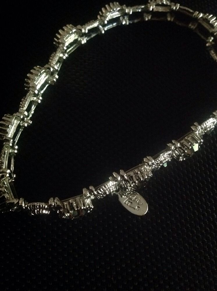 Bright Silver And Black Stone Stretchy Bracelet With Charm By Cookie Lee