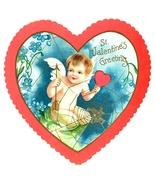 Victorian die cut Valentine heart cupid antique vintage greeting card - $5.50