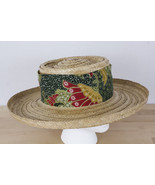 Vintage Happy Cappers Sun Straw Hat Size XL Cloth Wrap The Field Company... - $48.99