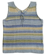 Carolyn Taylor Size L Womens Blue Multi-Color Stripe Pullover Vest Sweater - $12.99