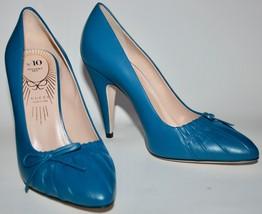 NIB Gucci No.10 Riviera Blue Charlotte Leather Heels - $296.01