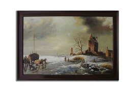 Ansavv Winter Scene Multicolor Oil On Canvas Painting - $234.00