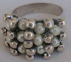 White pearls and silver pearls ring - $33.00