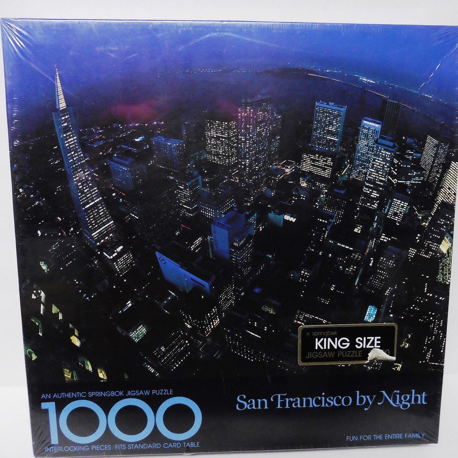 Jigsaw Puzzle SFO San Francisco By Night 1000 Pce Vintage Springbok Hallmark New