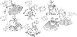 Colonial Lady DOW days of week towel embroidery pattern am3475   - $5.00