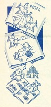Blue Birds DOW  days of week Dish Towels embroidery  pattern mo7280   - $5.00