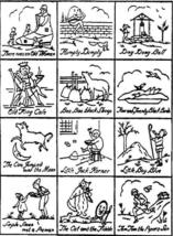 1920's Mother Goose Nursery Rhymes embroidery - redwork pattern B16103   - $6.00