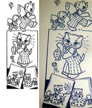 Kitten Fishing Family Towels embroidery pattern lw749  - $5.00