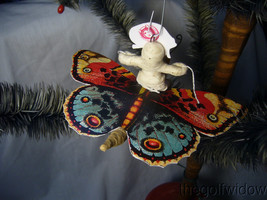 Vintage Inspired Spun Cotton Christmas Butterfly Ornament no.E27 image 2