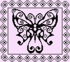 Swirly Monochrome Butterfly cross stitch chart ... - $7.50