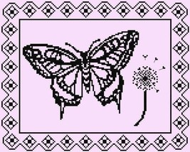 Breezy Monochrome Butterfly cross stitch chart Stitchers Anon Designs - $7.50
