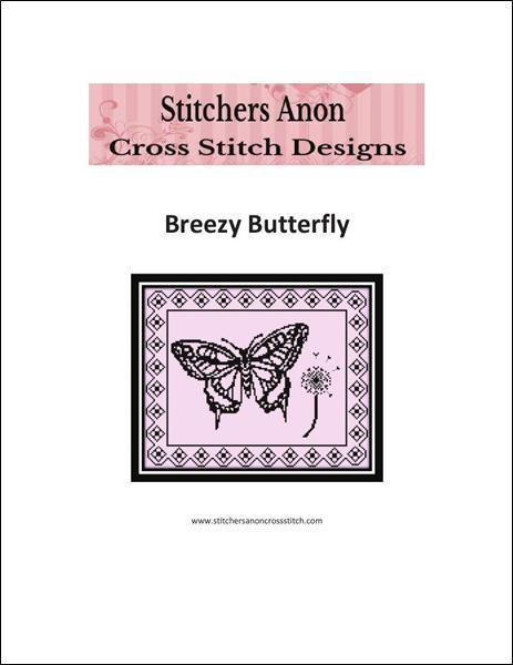 Breezy Monochrome Butterfly cross stitch chart Stitchers Anon Designs