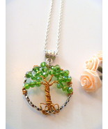 Handcrafted May Birthstone Green Crystal Wire Wrapped Tree of Life  Neck... - $19.99