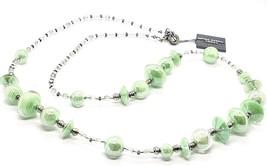 NECKLACE ANTICA MURRINA VENEZIA WITH MURANO GLASS GREEN MINT BEIGE CO954A08 - $142.03