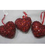 """Lot of (3) NEW Valentines 4"""" Red Heart Sequins Glitter Ornaments Decorat... - $19.99"""