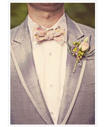 Pink, gold and grey/blue paisley self-tie Wedding Mens Bow Tie  - $60.00